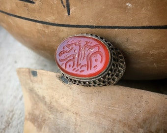 Vintage Intaglio Carved Carnelian and Sterling Silver Ring Size 5.5, Middle Eastern Nomadic Jewelry