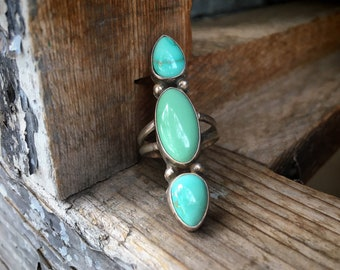 Long Dainty Turquoise Ring for Women, Navajo Readda Begay Native America Indian Jewelry