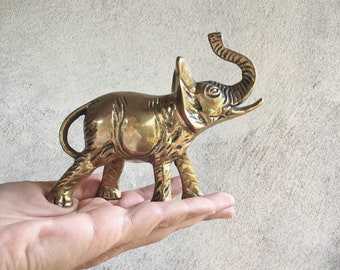 Vintage Brass Elephant Figurine Paperweight, Trunk Up Lucky Feng Shui Shelf Display Office Decor