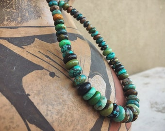 Turquoise Bead Choker Necklace for Women, Santo Domingo Native American Indian Jewelry Southwestern