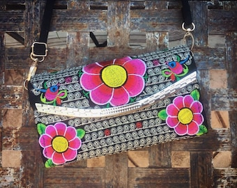 Vintage Embroidered Foldover Clutch Purse for Women, Colorful Textiles Ethnic Bag, Small Purse