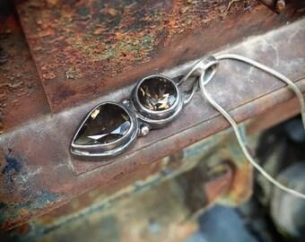 1990s Sterling Silver Smoky Quartz Pendant Necklace on Snake Chain, Birthday Gift November Birthstone