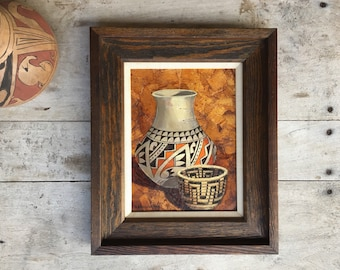 "9"" x 12"" Original Oil Painting Canvas Pottery Vignette by Karen Brueggemann, Southwestern Decor"