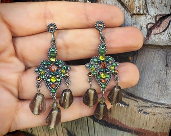 Vintage 925 Silver Earrings for Women, Green and Amber Smoky Quartz Sparkly Dangles with Posts for Pierced Ears,