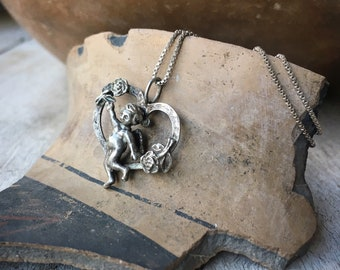 Sterling Silver Cupid in Heart Pendant Necklace for Women or Girl, Angel Jewelry, Cherub Gift