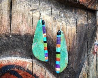 Long Multicolor Turquoise Slab Earrings Santo Domingo Earrings, Native American Indian Turquoise Jewelry