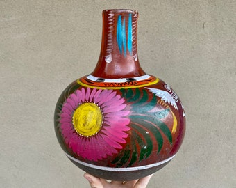 Mexico Burnished Pottery Water Jug Botellon de Barro Large with Colorful Floral Design, Mexican Southwestern Home Decor, Centerpiece Vase