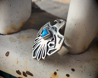 Sterling Silver Thunderbird Ring for Women Turquoise Jewelry, Southwestern Native American Indian Jewelry, Turquoise Ring, Girlfriend Gift