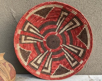 """Large 16"""" Coiled Basket Red Brown Bohemian Decor, Native Style, Eclectic Natural Tiki Beach House"""