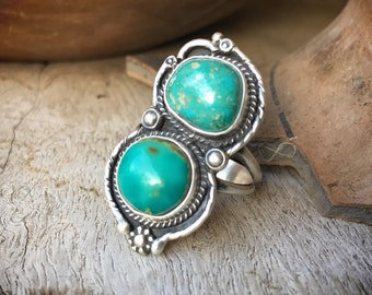 Two-Stone Turquoise Ring for Women Size 8.5 Native American Indian Jewelry