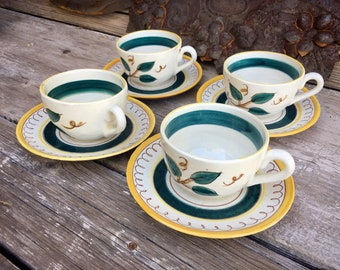 Set of Four Vintage Stangl Tea Coffee Cups and Saucers Terra Rose Fruit Lemons, Cottage Decor