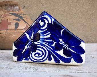 Vintage Blue White Talavera Napkin Holder, Southwestern Kitchen Decor, Mexican Breakfast Nook
