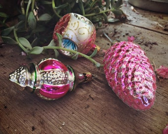 Three Vintage Mercury Glass Ornaments for Christmas Tree, Pink and Silver Christmas Decor
