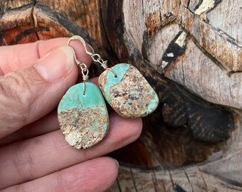 Green Boulder Turquoise Slab Earrings Medium-Small Size, Southwestern Santo Domingo Jewelry