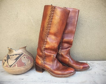 Brown Leather Campus Boot Women's size 9M (Run Small) Made in USA, Tall Cowboy Boot for Women