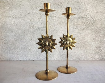 Pair of Vintage Brass Sun or Star Candlestick Holders, Celestial Candle Holders, Solstice Gifts