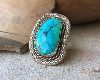 Navajo Turquoise Ring for Men or Women Size 7, Southwestern Jewelry Native American Indian Style