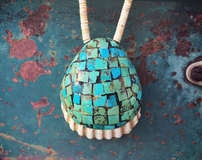 Featured listing image: 1950s Santo Domingo Turquoise Inlay on Shell Pendant with Heishi Necklace for Women or Men