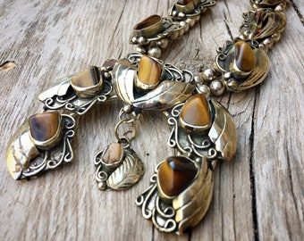 160g German Silver Tiger's Eye Squash Blossom Necklace, Affordable Southwestern Indian Jewelry