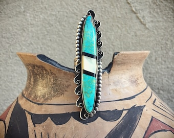 "Vintage Turquoise Ring Size 7.75 and 3"" Long with Mother of Pearl Black Onyx American Indian Ring"
