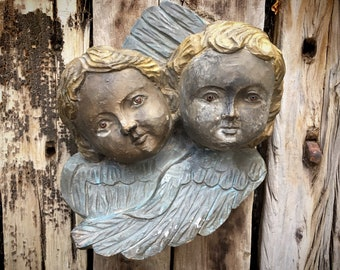Painted Carved Wood Winged Double Angels with Glass Eyes, Mexican Baroque Folk Art Wall Hanging