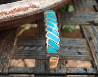 Channel Inlay Row Bracelet Turquoise Cuff for Small Wrist, Zuni Native American Indian Jewelry