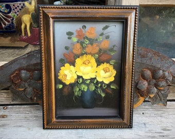 Small Vintage Oil Painting of Yellow Roses Flower Bouquet in Faux Wood Frame, Cottage Shabby Decor