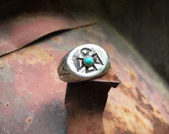 Fred Harvey Era Vintage Turquoise Ring Thunderbird Size 7.75 Bell Trading, Native American Style Old Pawn