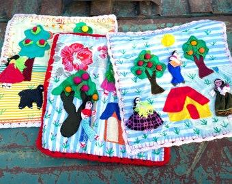 Three Vintage Arpillera Fabric Squares from Peru, Quilt Making Patchwork, Rustic Farmhouse Decor