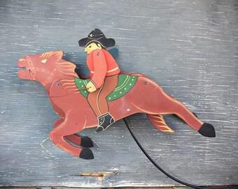 Vintage Cowboy on Horse Skyhook Wooden Folk Art Balance Toy Pendulum, Balance Horse