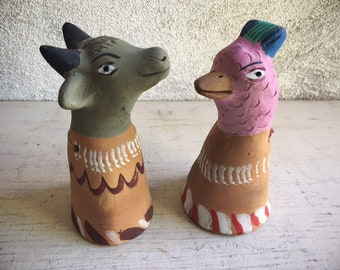 Pair of Vintage Pottery Bell Animals from Oaxaca Mexico, Mexican Folk Art, Primitive Decor