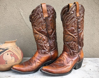 Vintage Quilted Brown Leather Cowboy Boots Men's Size 8 D with Flame Stitching, Fancy Boot