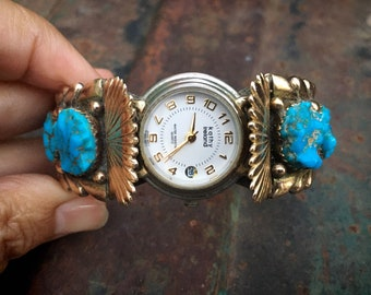 Zuni Wayne & Virginia Quam 14k Overlay Turquoise Watch Cuff for Women, Native America Wristwatch