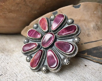 Huge Navajo Cluster Ring Purple Spiny Oyster Shell Size 9, Signed Native American Indian Jewelry