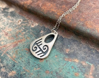 Small Navajo Herman Lee Sterling Sterling Silver Overlay Pendant Necklace, Native American