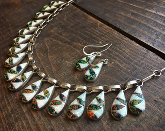 Vintage Manmade Opal Channel Inlay Choker Necklace and Earrings,  Zuni Native American Jewelry