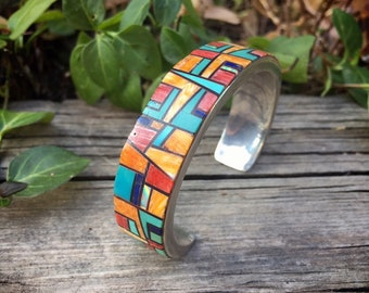 Vintage Channel Inlay Spiny Oyster Turquoise Cuff Bracelet for Women, Native American Indian Jewelry
