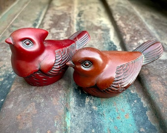 Pair of Vintage Red Songbird Figurines (Repaired) Resin by Crowning Touch, Cottage Decor, Bird Gift