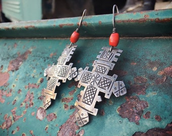 Signed Vintage Sterling Silver Cross Earrings for Women, Indigenous Mexican Guatemalan Chachal Jewelry