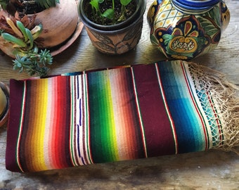 1930s Mexican Serape Throw Blanket Narrow Made of Silk and Wool, Southwestern Weaving Table Cover