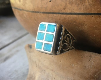 Vintage Turquoise Ring Channel Inlay Size 8.5, Zuni Native American Indian Jewelry