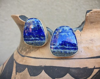 Signed Navajo Lapis Lazuli Post Earrings for Women, Native American Indian Jewelry