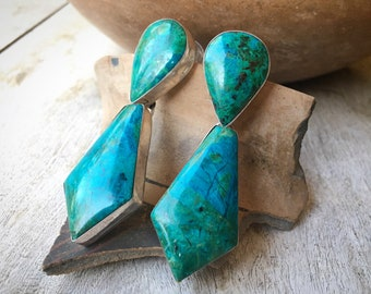 Substantial Navajo Chrysocolla Sterling Silver Earrings for Women, Blue-Green Healing Gemstone