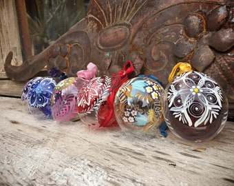 Set of Six Multi Colored Vintage Painted Glass Ornaments Made in Austria, Christmas Tree Ornament, Austrian Folk Art
