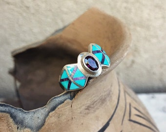 Size 8.25 Turquoise Channel Inlay Band with Garnet Gemstone, Native American Indian Jewelry