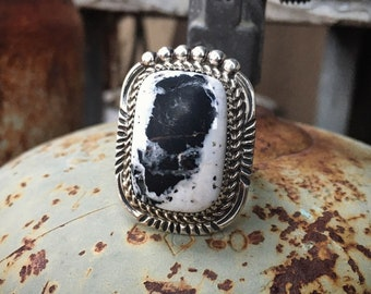 White Buffalo Turquoise Ring Size 10.5 Unisex for Men or Women, Native American Indian Jewelry