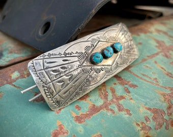 Vintage Sterling Silver Hair Barrette with Turquoise Big Yet Thin, Native American Indian Hair Tie