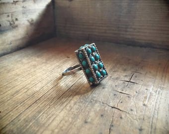 1960s Taxco Mexico Silver Turquoise Ring Adjustable Band, Mexican Jewelry, Taxco Jewelry