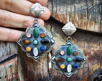 Navajo Albert & Jeanette Brown Sterling Silver Multi Stone Earrings, Native American Indian Jewelry, Birthday Gift for Wife or Girlfriend