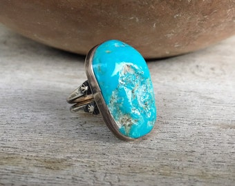 Simple Turquoise Ring for Women or Men Size 7, Sterling Silver Navajo Ring
